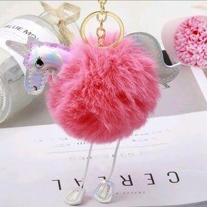 Trendy Glitter Unicorn Pom Pom Key Ring Keychain